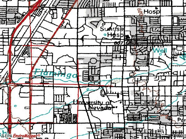 Zip code 89109 topographic map