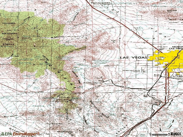 Zip code 89124 topographic map