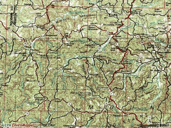Zip code 72641 topographic map