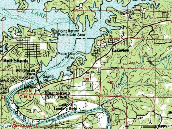 Zip code 72642 topographic map