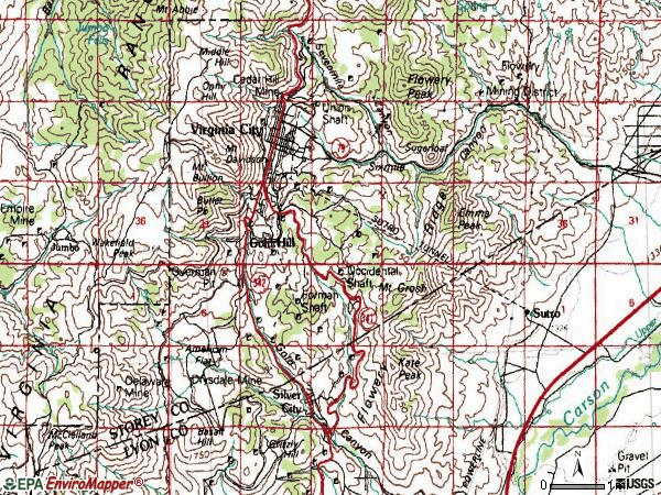 Zip code 89440 topographic map