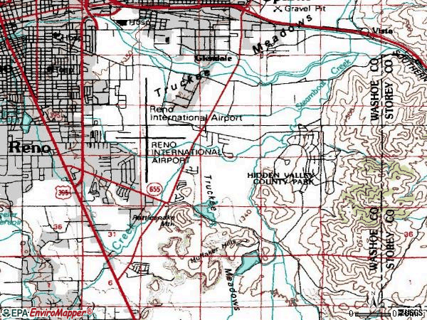 Zip code 89502 topographic map