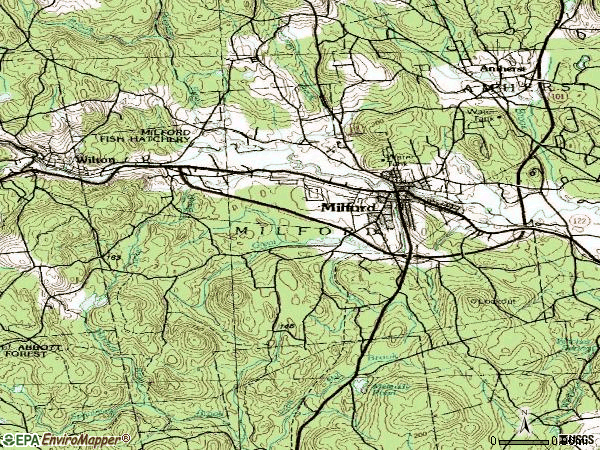 Zip code 03055 topographic map