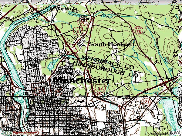 Zip code 03104 topographic map