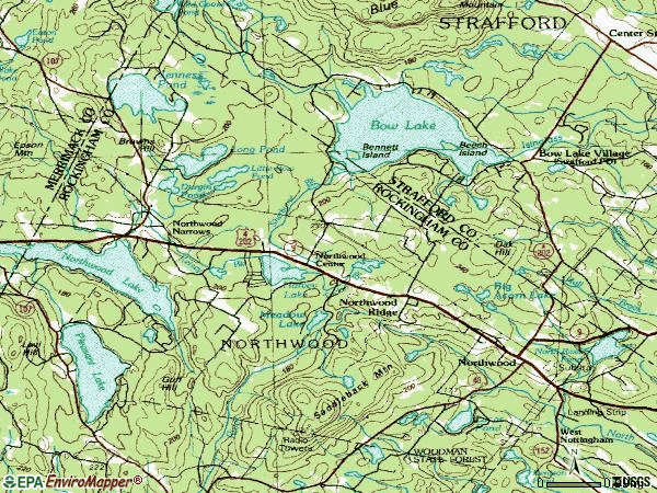 Zip code 03261 topographic map