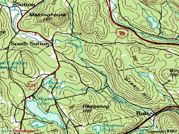 Zip code 03276 topographic map