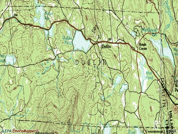 Zip code 03444 topographic map