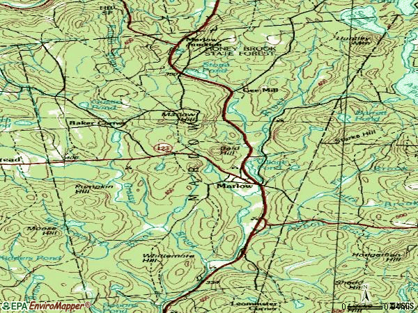 Zip code 03456 topographic map