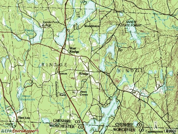 Zip code 03461 topographic map