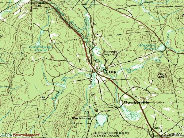 Zip code 03465 topographic map