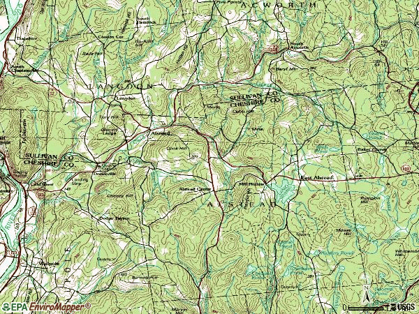 Zip code 03602 topographic map