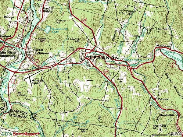 Zip code 03766 topographic map