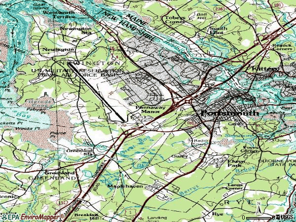 Zip code 03801 topographic map