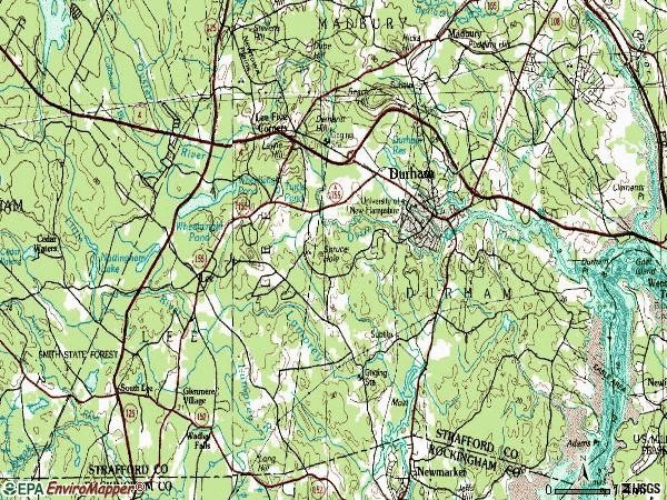 Zip code 03824 topographic map