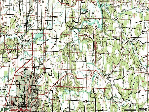 Zip code 72703 topographic map