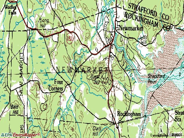 Zip code 03857 topographic map