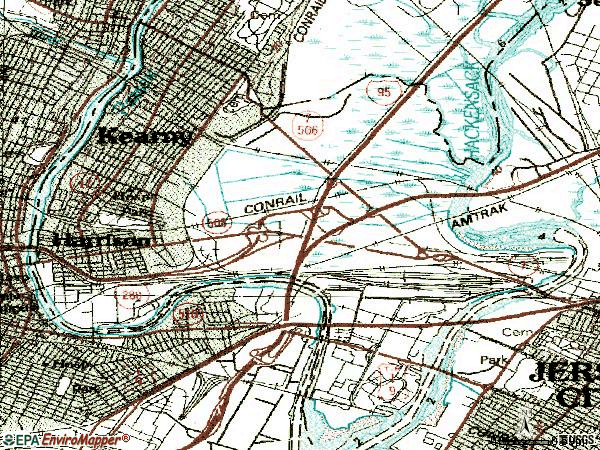 Zip code 07032 topographic map