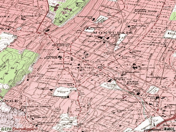 Zip code 07042 topographic map