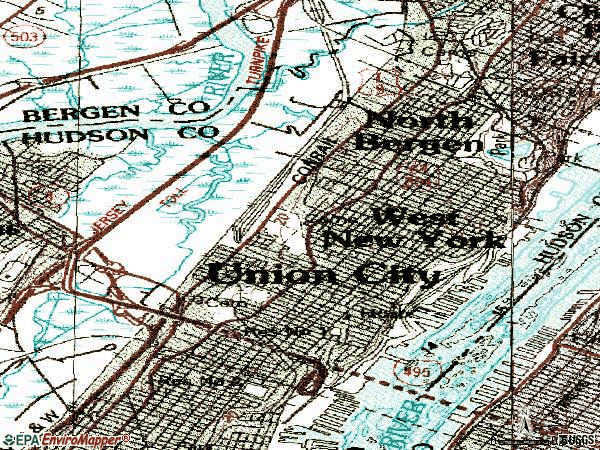 Zip code 07047 topographic map