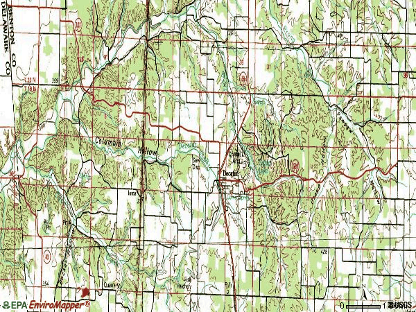 Zip code 72722 topographic map