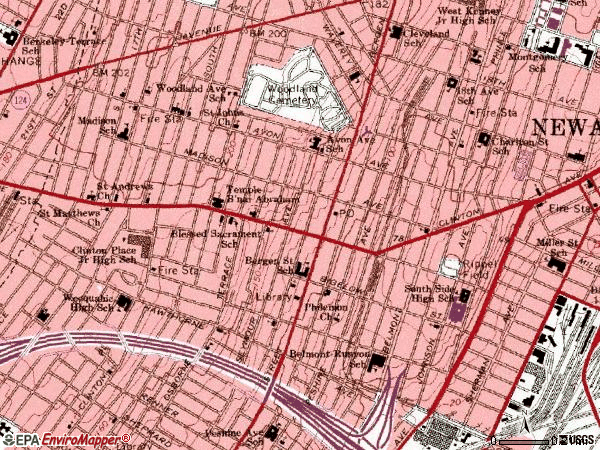 Zip code 07108 topographic map