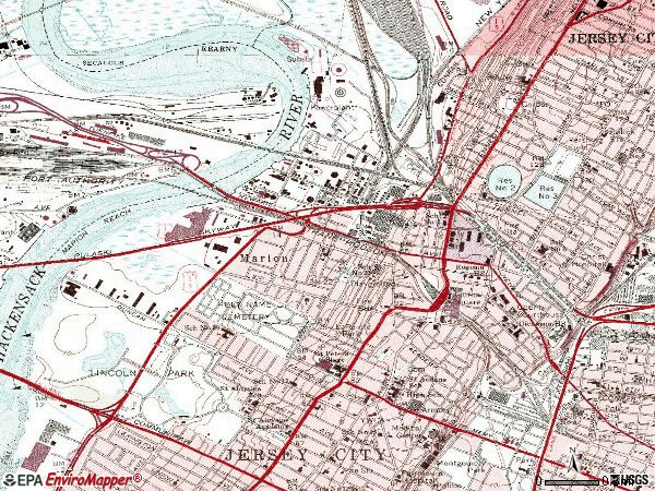 Zip code 07306 topographic map