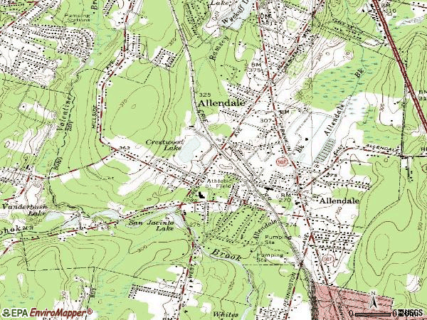 Zip code 07401 topographic map