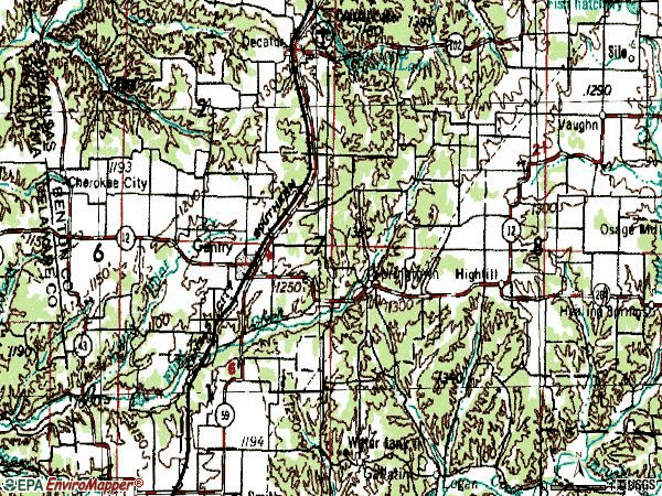 Zip code 72734 topographic map