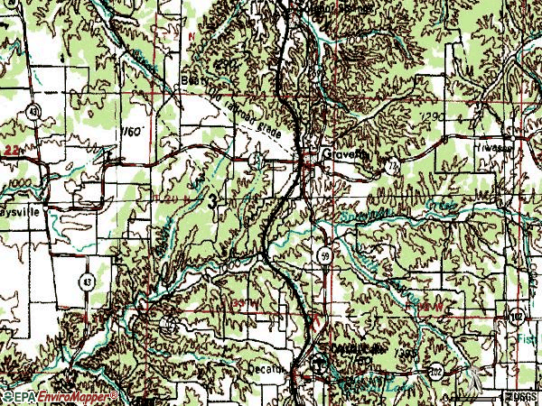 Zip code 72736 topographic map