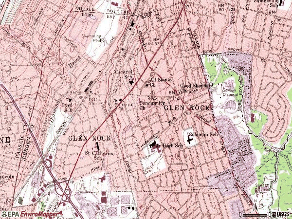 Zip code 07452 topographic map