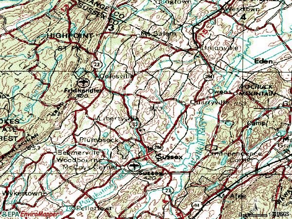 Zip code 07461 topographic map