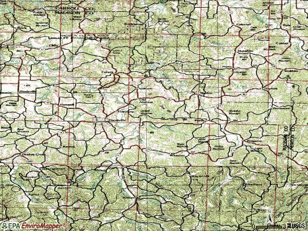 Zip code 72740 topographic map