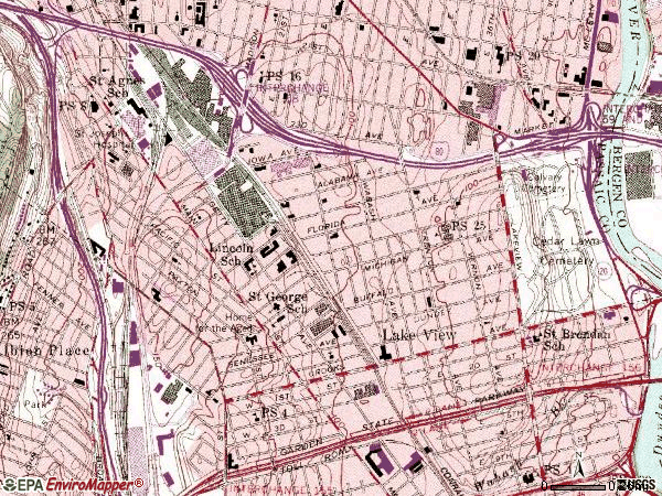 Zip code 07503 topographic map