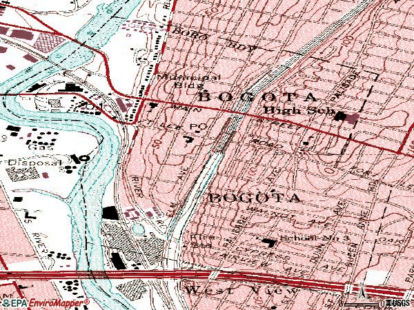 Zip code 07603 topographic map