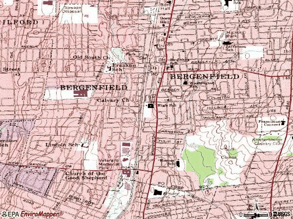 Zip code 07621 topographic map
