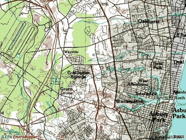Zip code 07712 topographic map