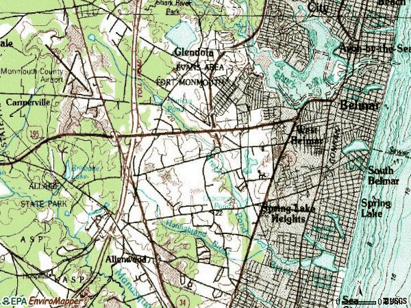 Zip code 07719 topographic map