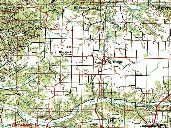 Zip code 72751 topographic map
