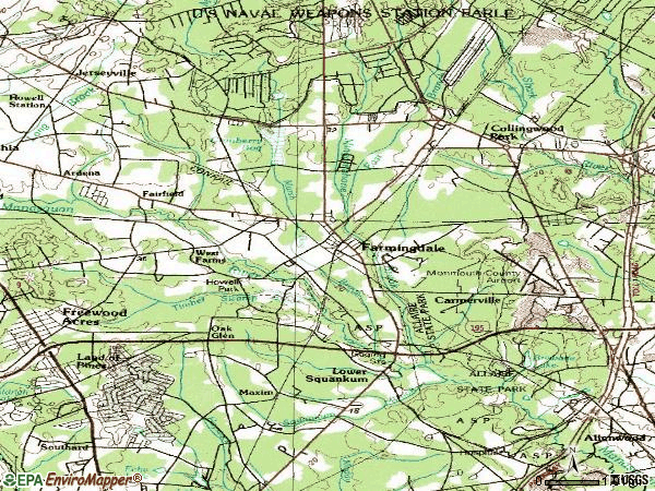 Zip code 07727 topographic map