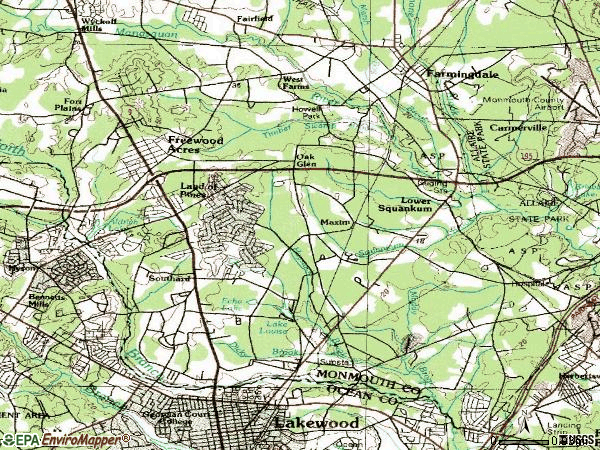 Zip code 07731 topographic map