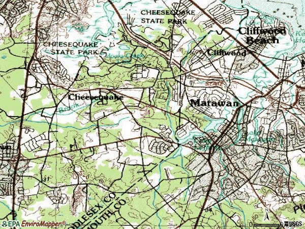 Zip code 07747 topographic map