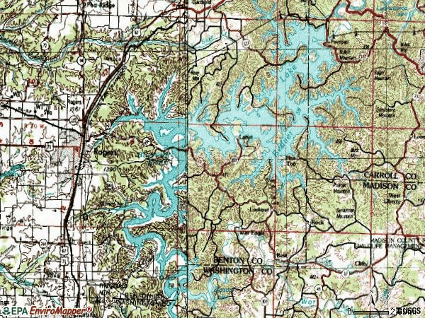 Zip code 72756 topographic map