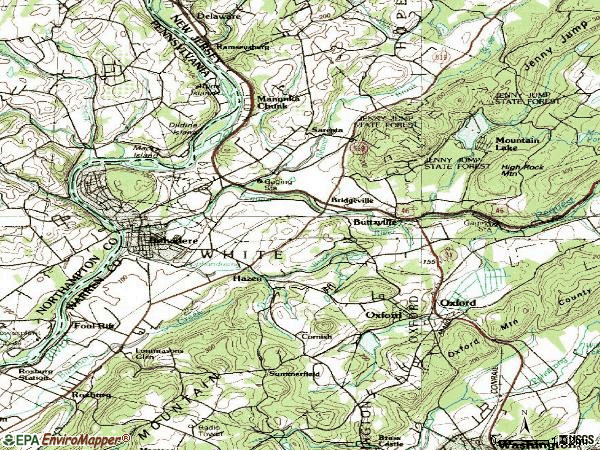 Zip code 07823 topographic map