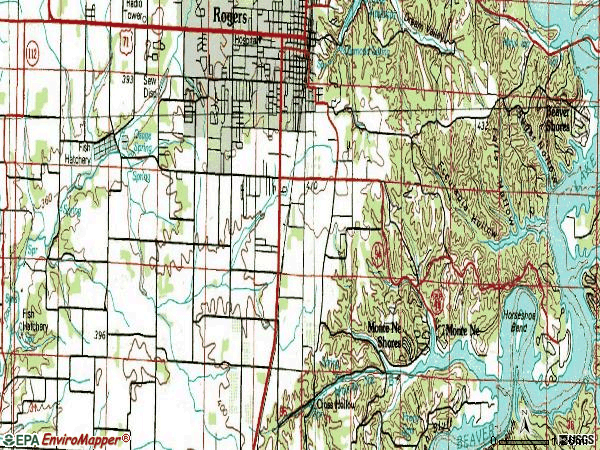 Zip code 72758 topographic map