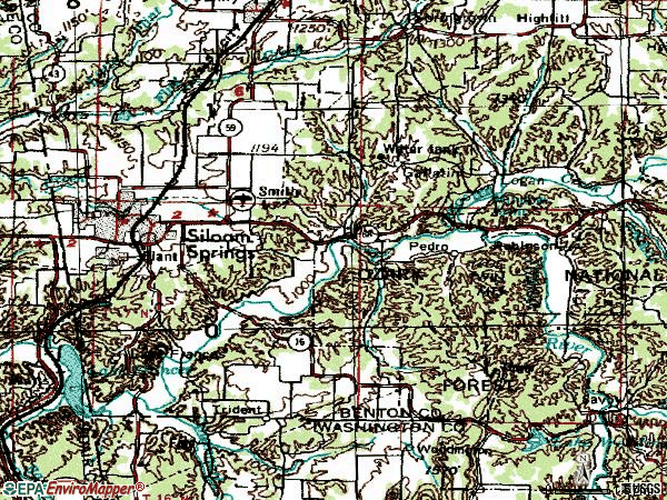 Zip code 72761 topographic map
