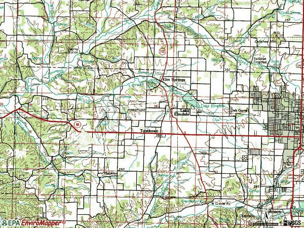 Zip code 72762 topographic map