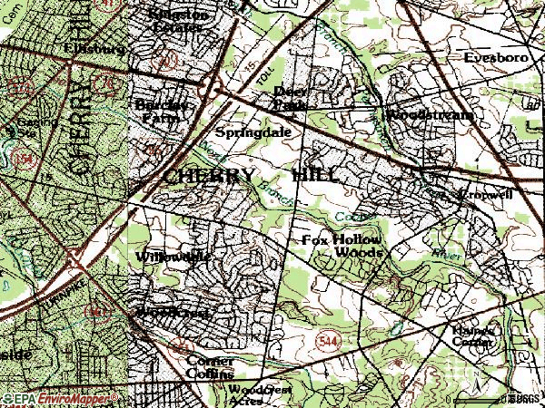 Zip code 08003 topographic map