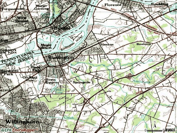 Zip code 08016 topographic map