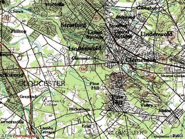 Zip code 08021 topographic map