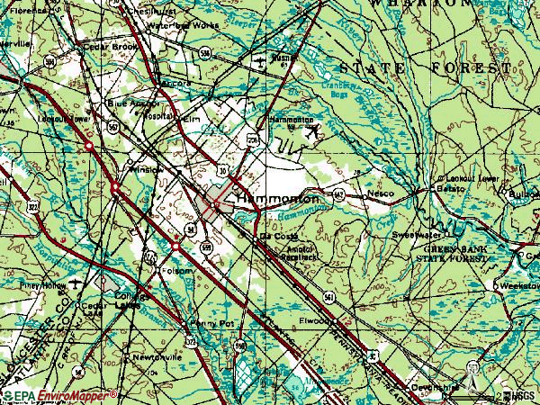 Zip code 08037 topographic map